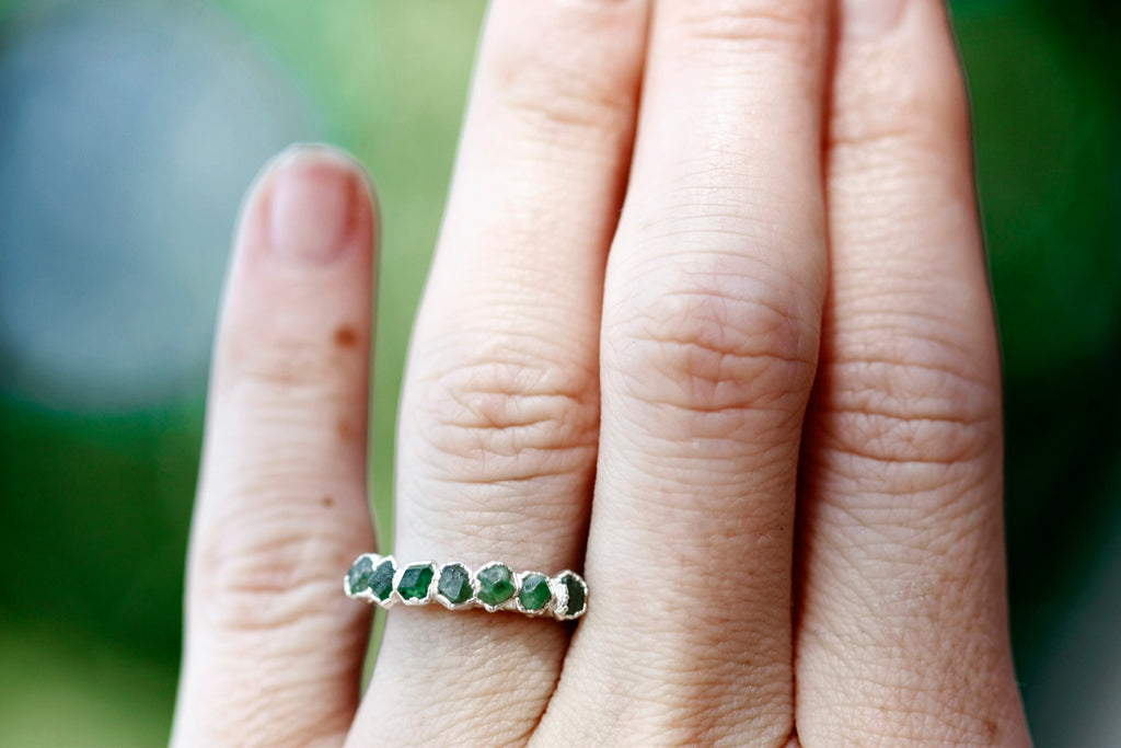 January Stackable Ring (green multi stone) // Rose Gold, Gold, or Silver - Little Sycamore