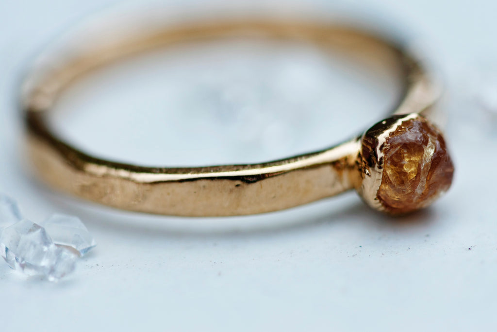 January Stackable Ring (single golden stone) // Rose Gold, Gold, or Silver - Little Sycamore
