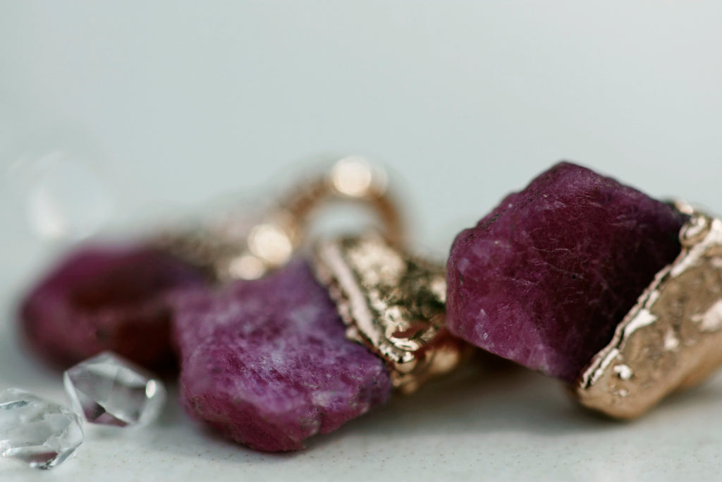 July Raindrops Necklace // Ruby in Rose Gold, Gold, or Silver - Little Sycamore