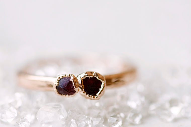 July Stackable Ring (double stone) // Rose Gold, Gold, or Silver
