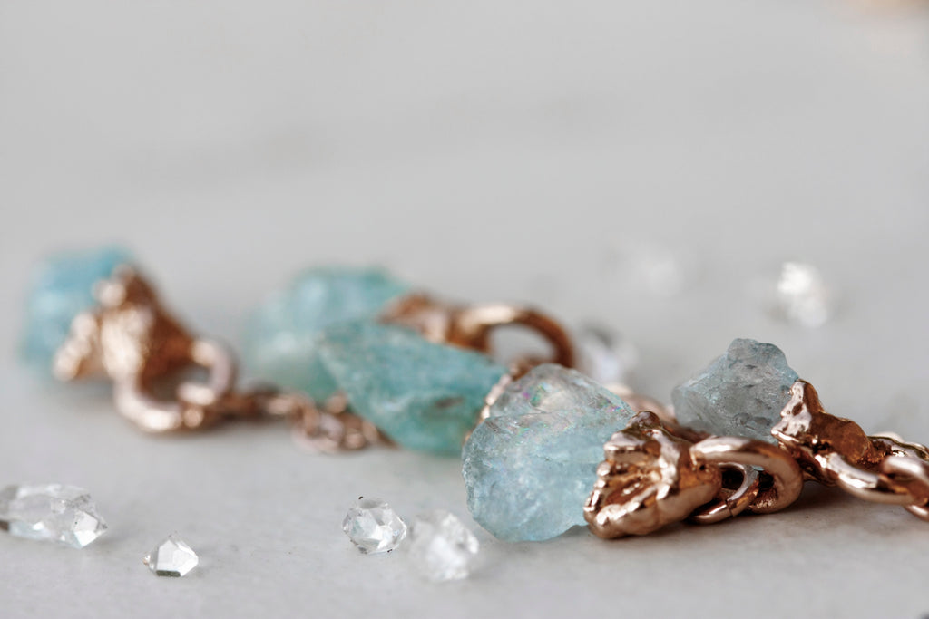 March Raindrops Necklace // Aquamarine in Rose Gold, Gold, or Silver - Little Sycamore