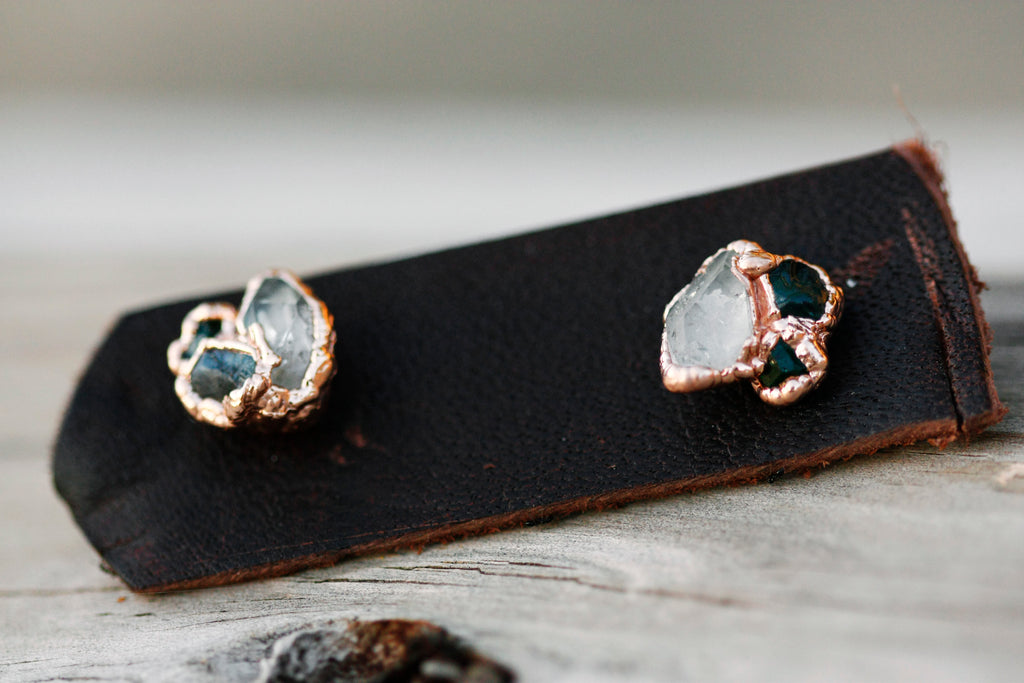 Custom Multi Stone Earrings // Rose Gold, Gold, Silver