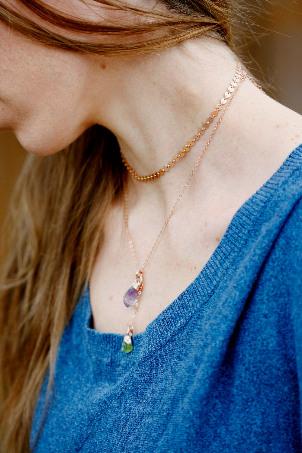 Mothers Crystal Drop Necklace // Rose Gold, Gold, Silver