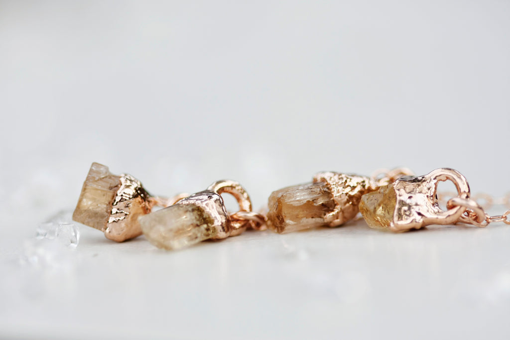 November Raindrops Necklace // Topaz in Rose Gold, Gold, or Silver - Little Sycamore