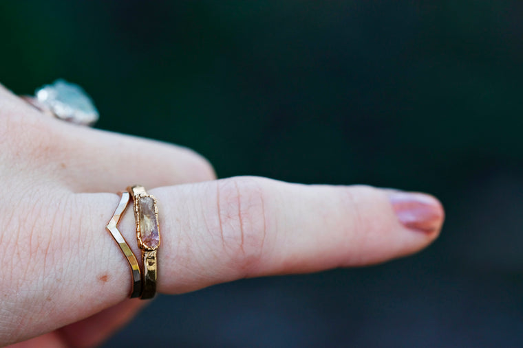 November Stackable Ring (single stone) // Rose Gold, Gold, or Silver - Little Sycamore
