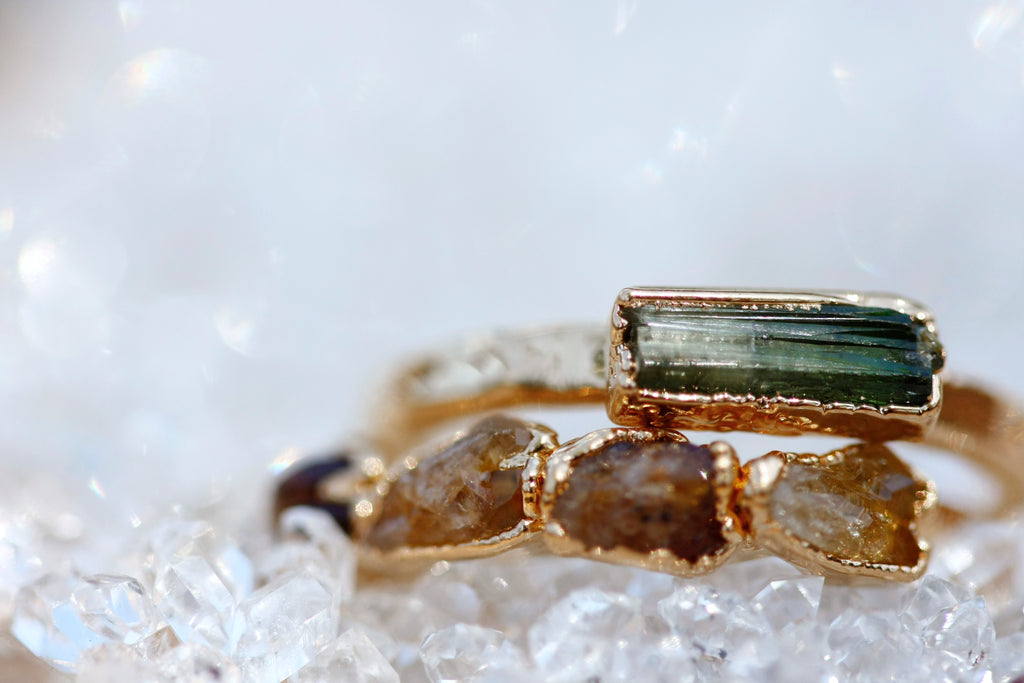 October Stackable Ring (tourmaline bar) // Rose Gold, Gold, or Silver - Little Sycamore