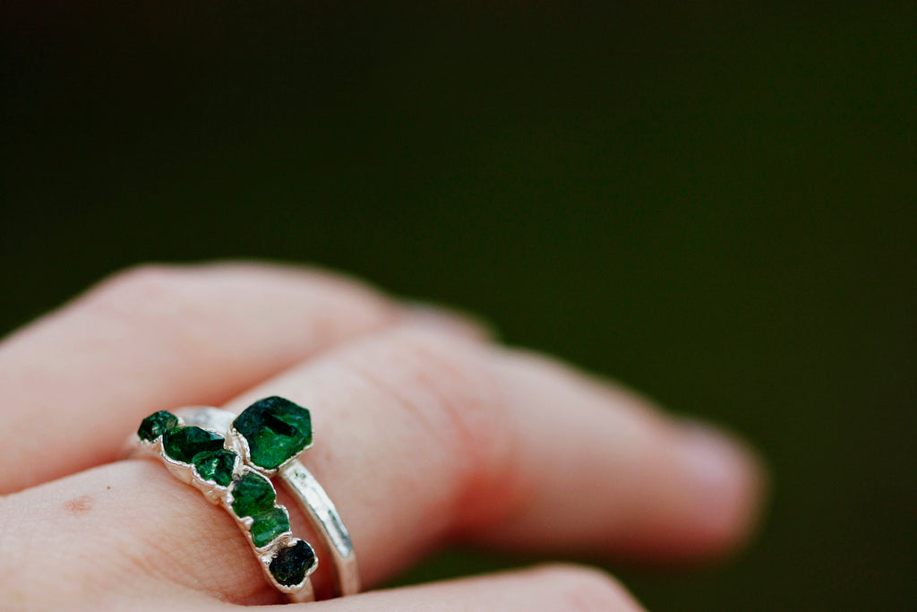 October Stackable Ring (green single stone) // Rose Gold, Gold, or Silver - Little Sycamore