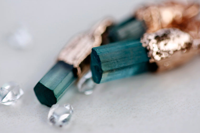 October Blue Raindrops Necklace // Tourmaline in Rose Gold, Gold, or Silver