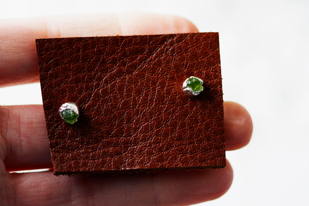 Spring Green Studs // August Birthstone in Silver