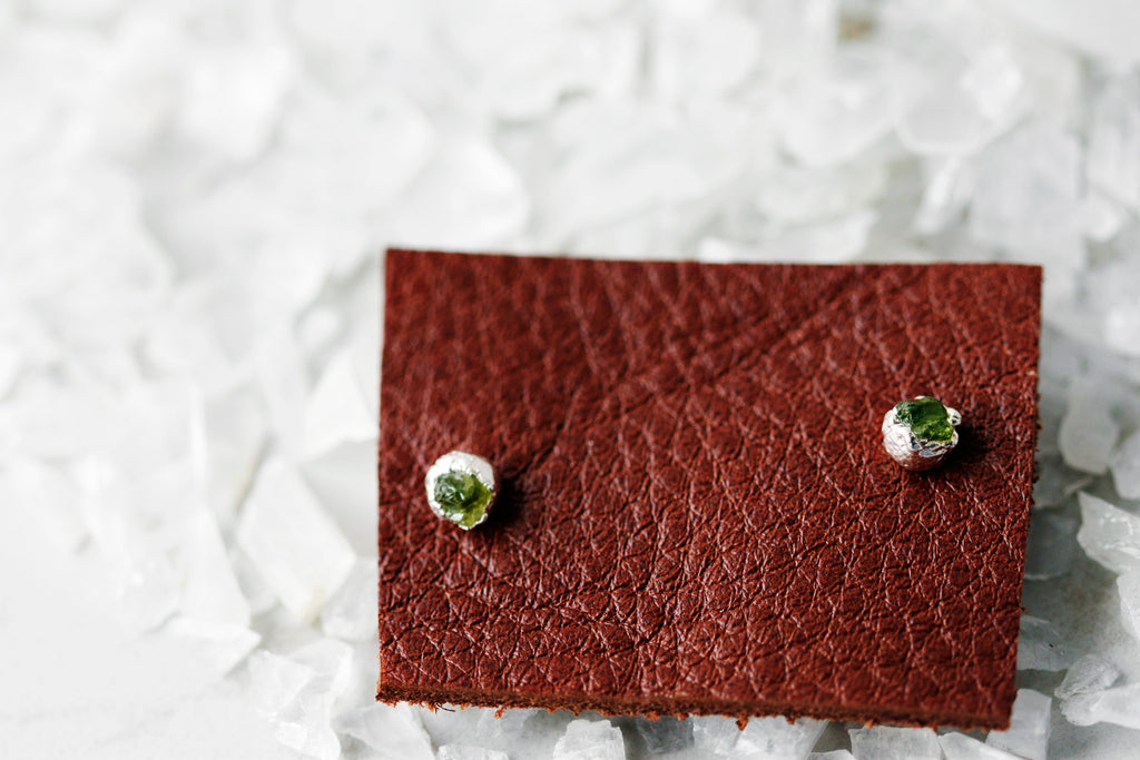Spring Green Studs // August Birthstone in Silver - Little Sycamore