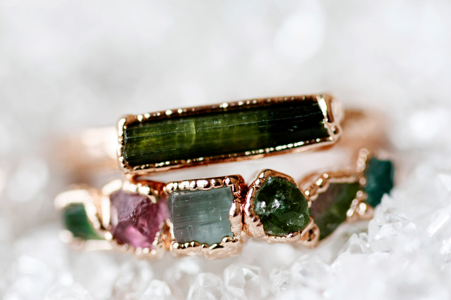 October Stackable Ring (green tourmaline bar) // Rose Gold, Gold, or Silver - Little Sycamore