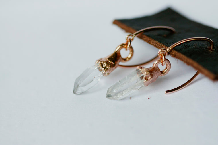 Crystal Drop Earrings // Rose Gold