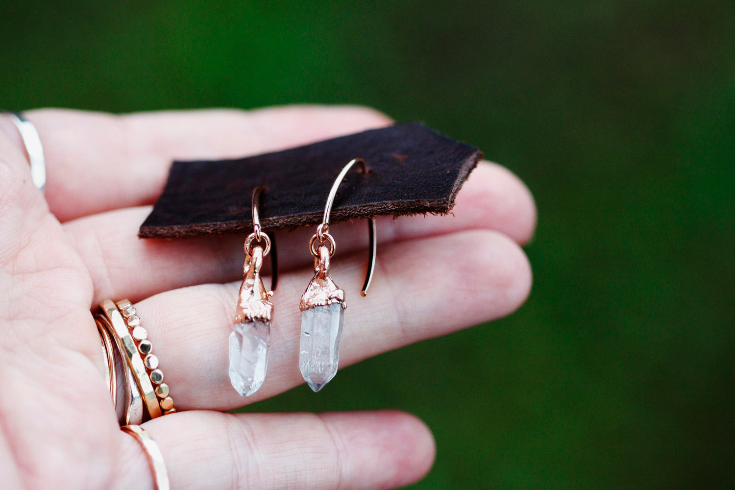 Crystal Drop Earrings // Rose Gold - Little Sycamore