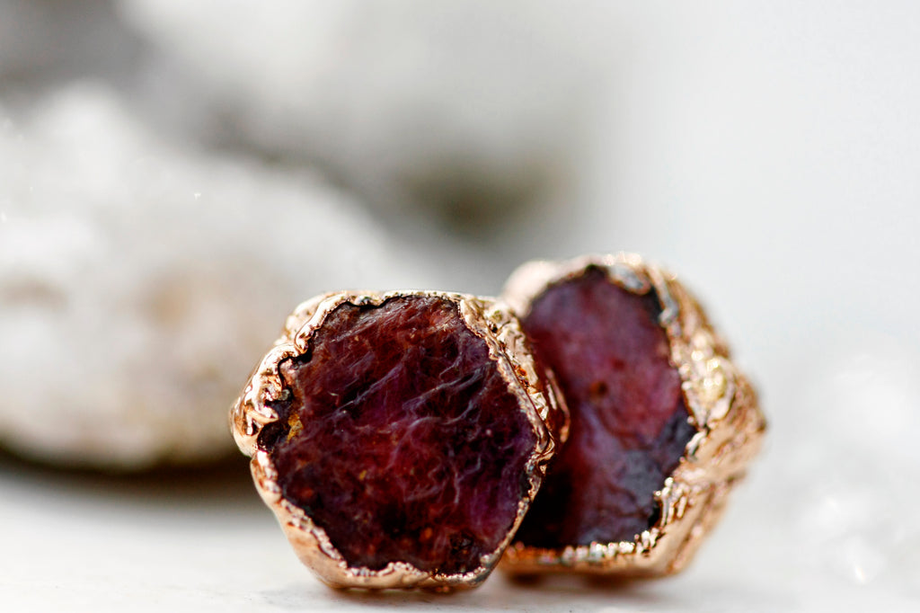 Passion Studs // Rubies in Rose Gold or Silver - Little Sycamore