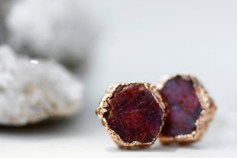 Passion Studs // Rubies in Rose Gold