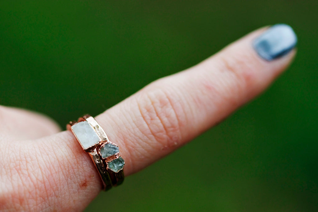 September Stackable Ring (double stone) // Rose Gold, Gold, or Silver - Little Sycamore