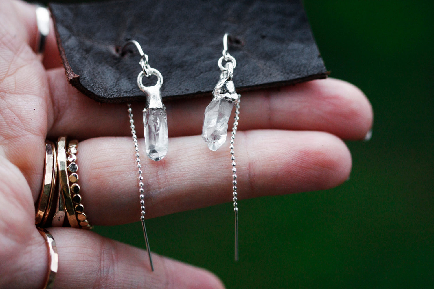 Crystal Drop Earrings // Silver - Little Sycamore
