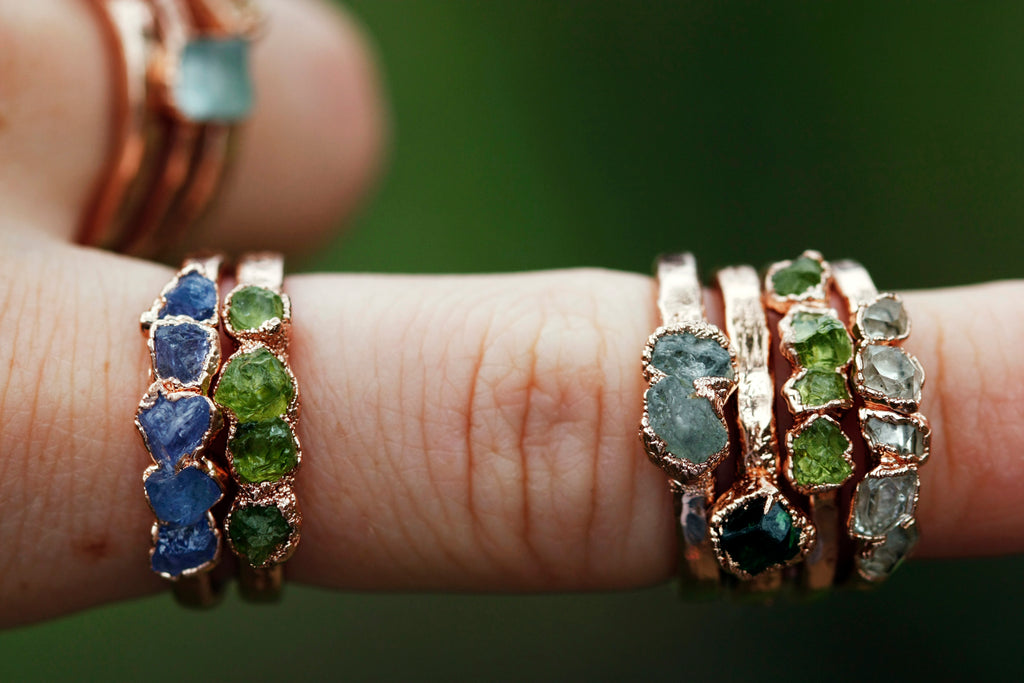 August Stackable Ring (peridot multi stone) // Rose Gold, Gold, or Silver - Little Sycamore