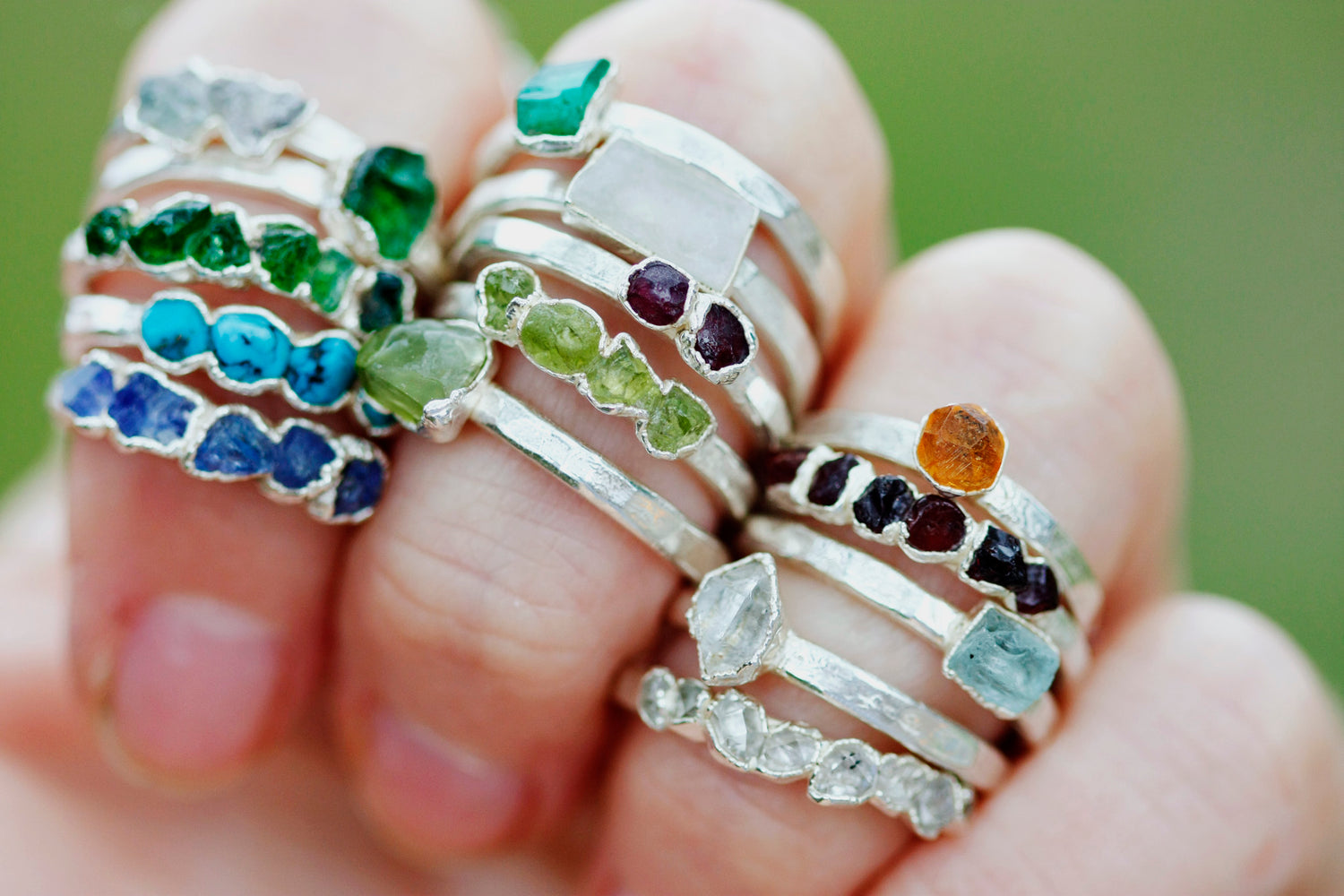 December Stackable Ring (turquoise) // Rose Gold, Gold, or Silver - Little Sycamore