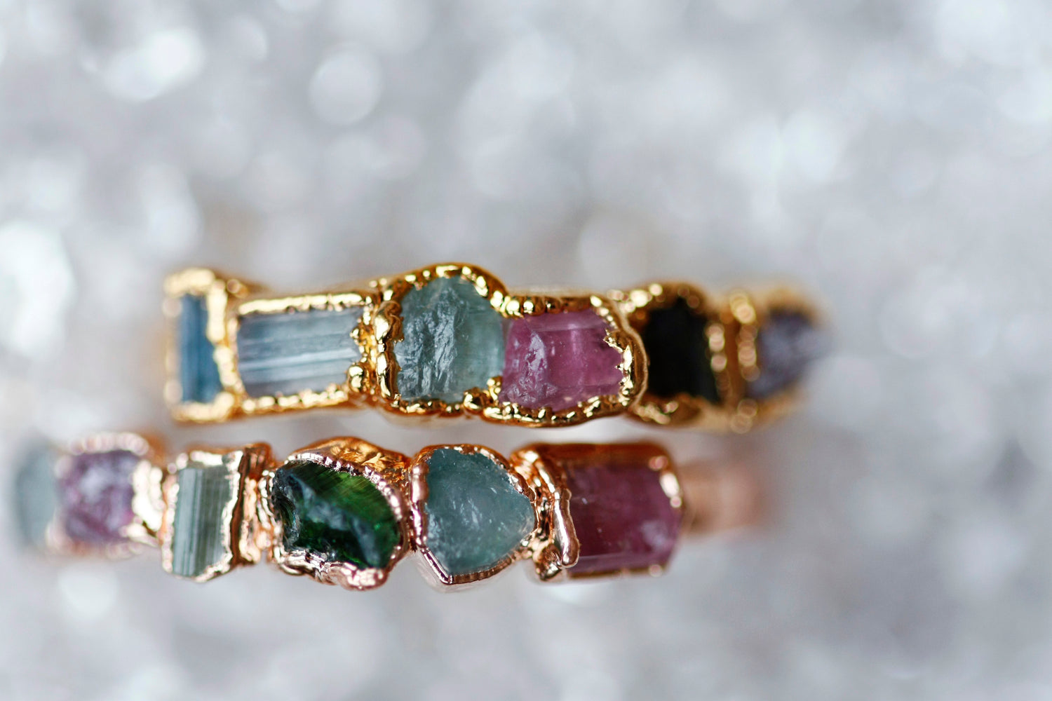October Stackable Ring (multi color row) // Rose Gold, Gold, or Silver - Little Sycamore