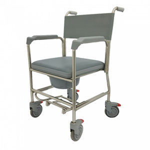 Stainless Steel Commode with Plastic Fork & PVC Seat Cushion