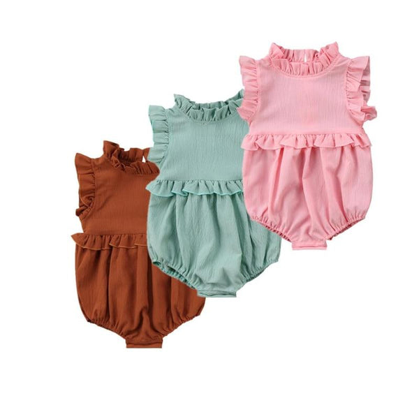 Girls Sleeveless Ruffle Romper - everbabies