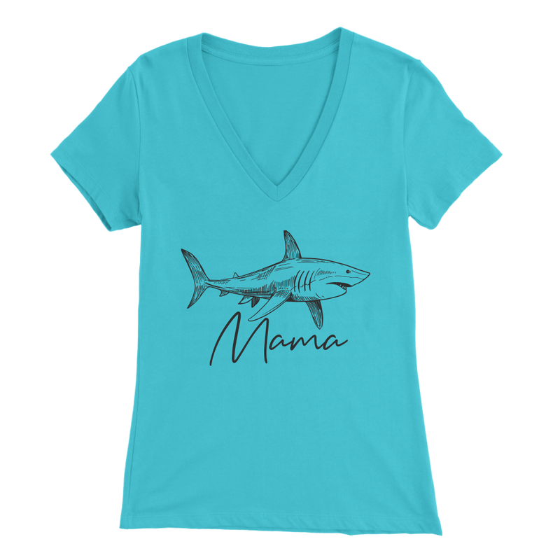 Mama Shark V Neck T Shirt