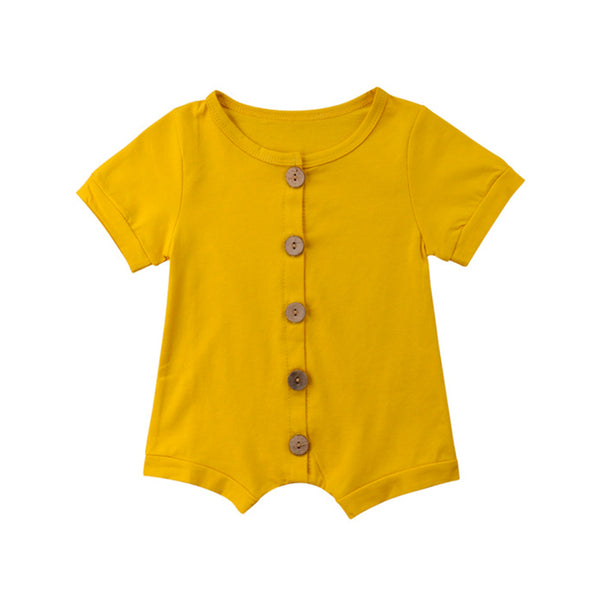 Wooden Button Baby Romper - everbabies