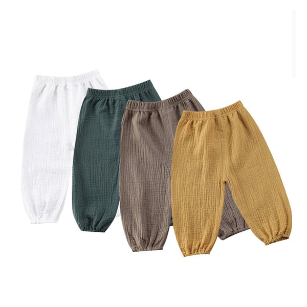 Vintage Look Wrinkled Cotton Pants - everbabies
