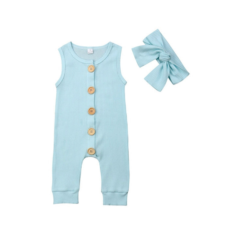 Baby Girl  Cotton Sleeveless Romper and Headband Set - everbabies