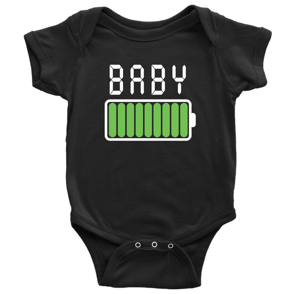 Daddy and Me Battery Shirt and Baby Onesie Black Set
