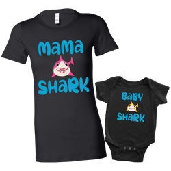 Mommy and Me Baby Shark Shirt and Baby Onesie Matching Black Set