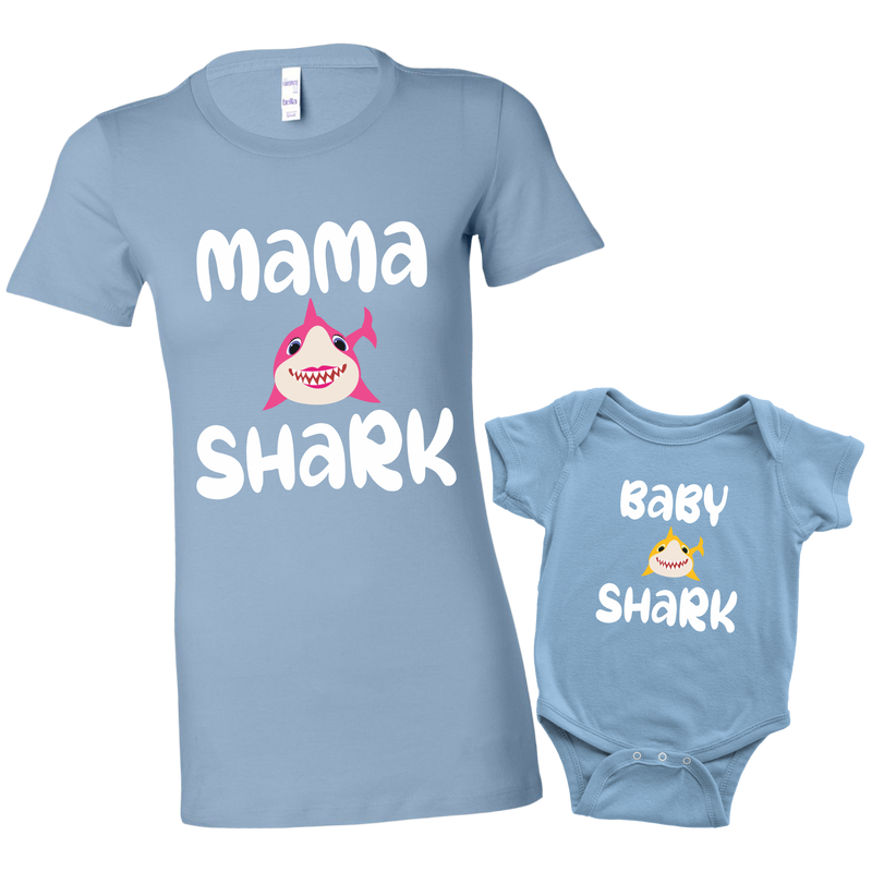 Mommy and Me Baby Shark Shirt and Baby Onesie Matching Baby Blue