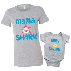 Mommy and Me Baby Shark Shirt and Baby Onesie Matching Baby Heather Grey
