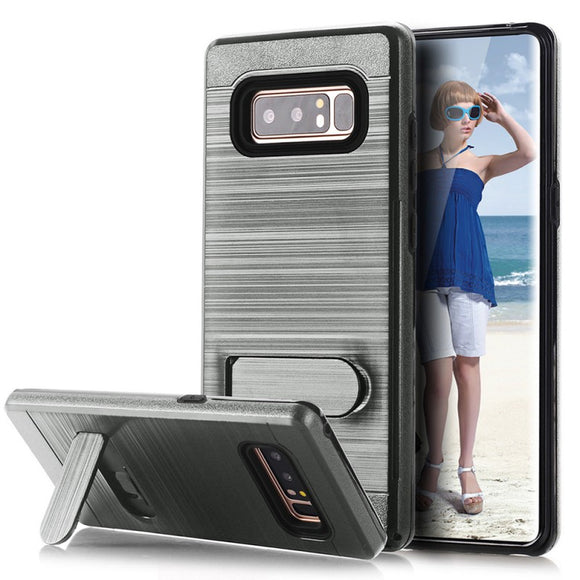 SAMSUNG GALAXY NOTE 8 BRUSHED SHOCKPROOF WITH KICKSTAND CARD SLOT HOLDER CASE COVER GRAY