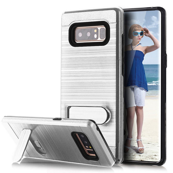 SAMSUNG GALAXY NOTE 8 BRUSHED SHOCKPROOF WITH KICKSTAND CARD SLOT HOLDER CASE COVER SILVER