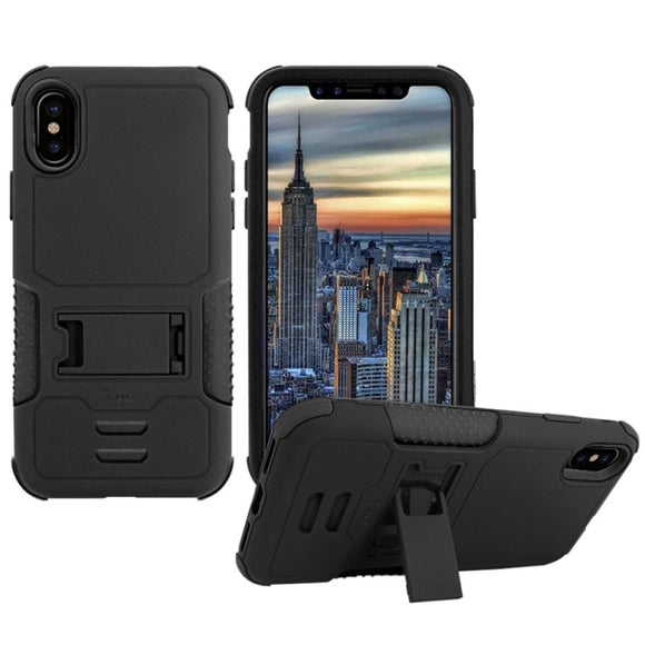 IPHONE X IMPACT SILICONE CASE DUAL LAYER WITH STAND BLACK