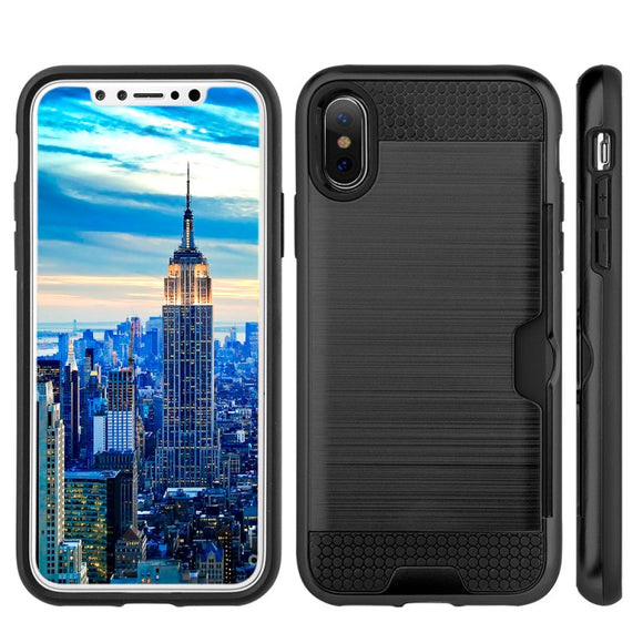 APPLE IPHONE X SLIM PC METAL BRUSHED PROTECTIVE CREDIT CARD SLOT CASE COVER BLACK Login to See Price