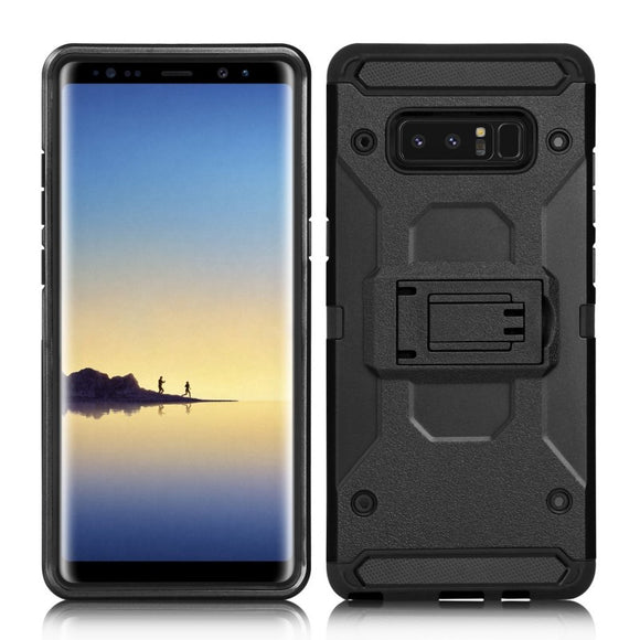 SAMSUNG GALAXY NOTE 8 ARMOR HYBRID DUAL LAYER SHOCKPROOF TOUCH KICKSTAND CASE COVER BLACK