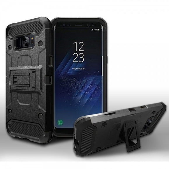 SAMSUNG GALAXY S8 BRUSHED HYBRID ARMOR PROTECTIVE CASE COVER BLACK
