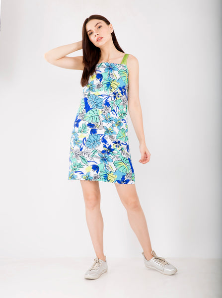 Print Linen Dress  ,Sizes Left : S-2 , M-2