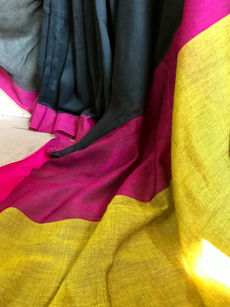 Handloom khadi cotton saree - Black
