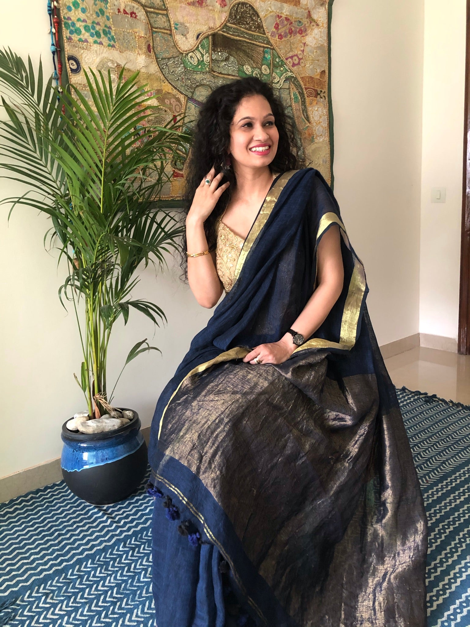 Blue Mist - Handwoven Linen Saree