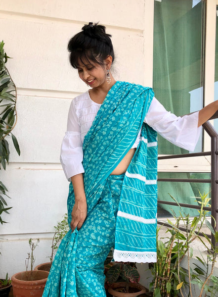 माही  - Handblock Print Dabu Cotton Mul Saree