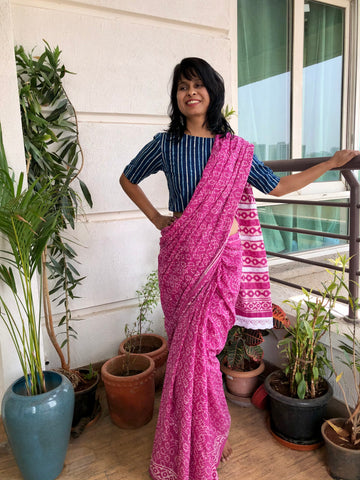 बानी  - Handblock Print Dabu Cotton Mul Saree