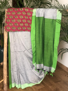 Bengal handloom khadi cotton saree - Grey and Green