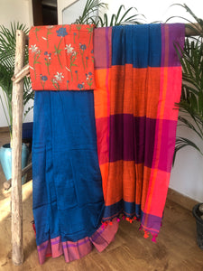 Bengal handloom khadi cotton saree - Navy Blue