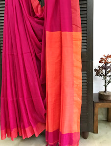 Handloom khadi cotton saree - Hot Pink