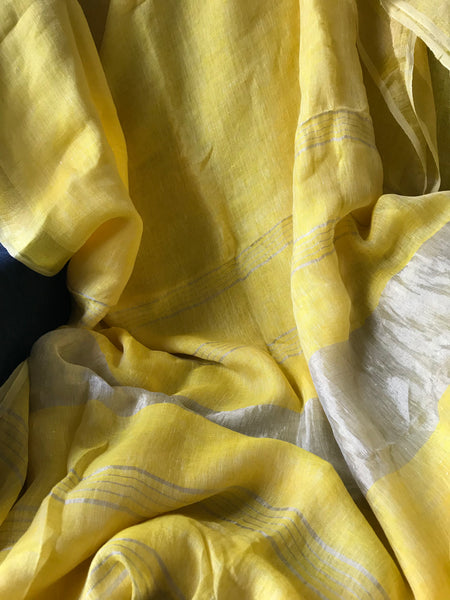 Handwoven linen yellow color saree