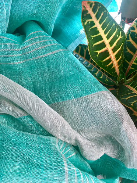 Handwoven linen teal blue color saree